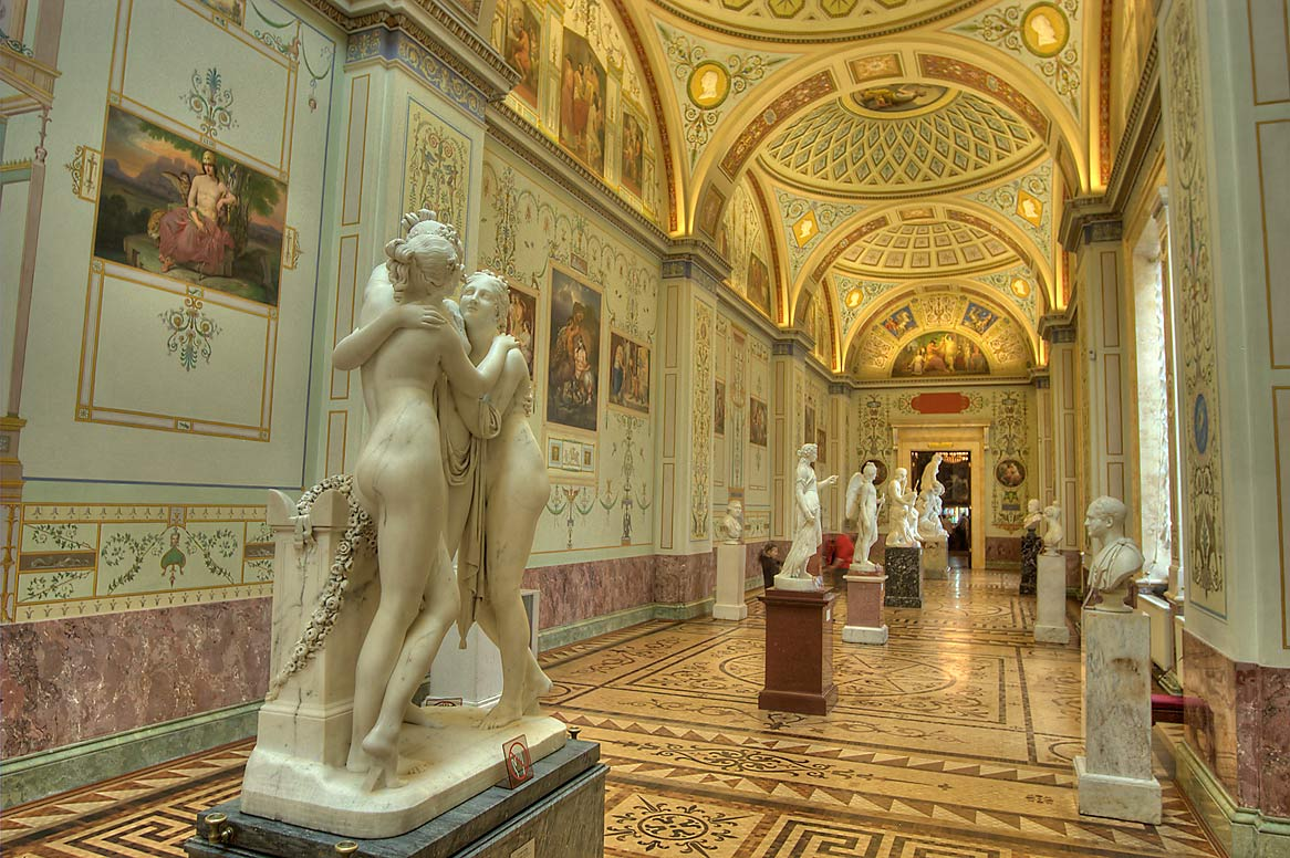 Statue of Three Graces in Gallery of the History...Museum. St.Petersburg, Russia