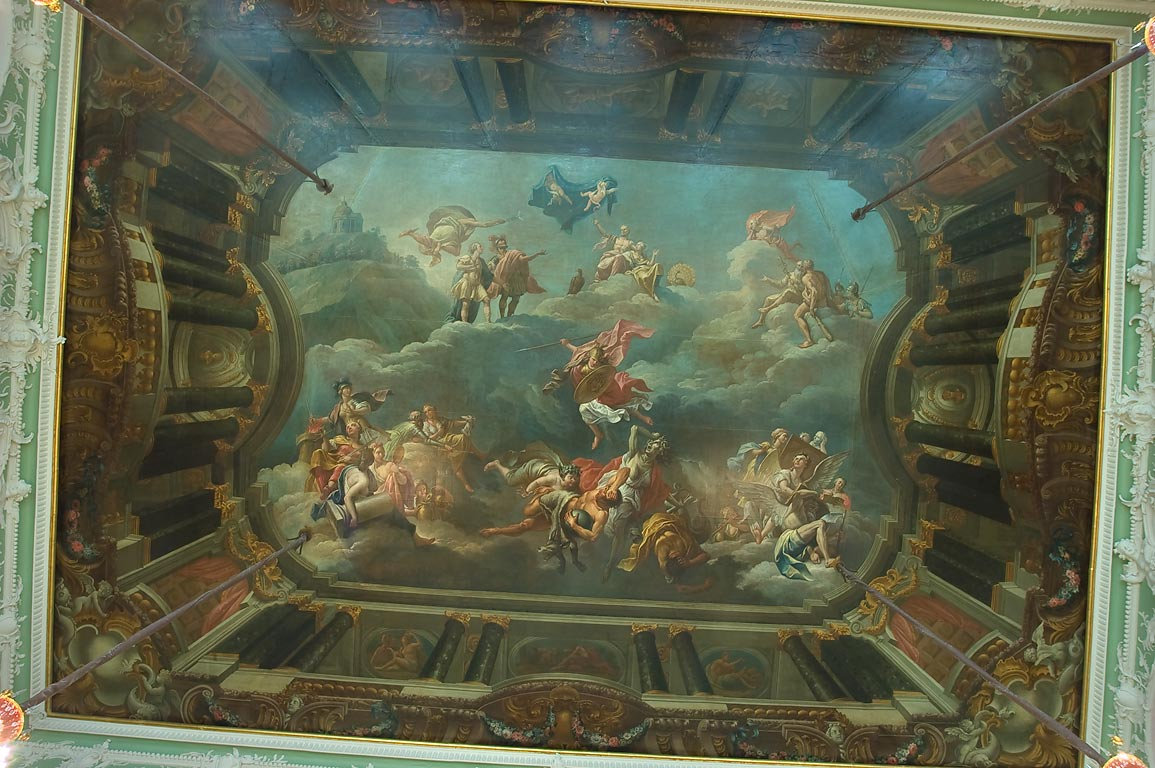"Plafond ""Triumph of Hero"" in Ball Hall of Stroganov Palace. St.Petersburg, Russia"