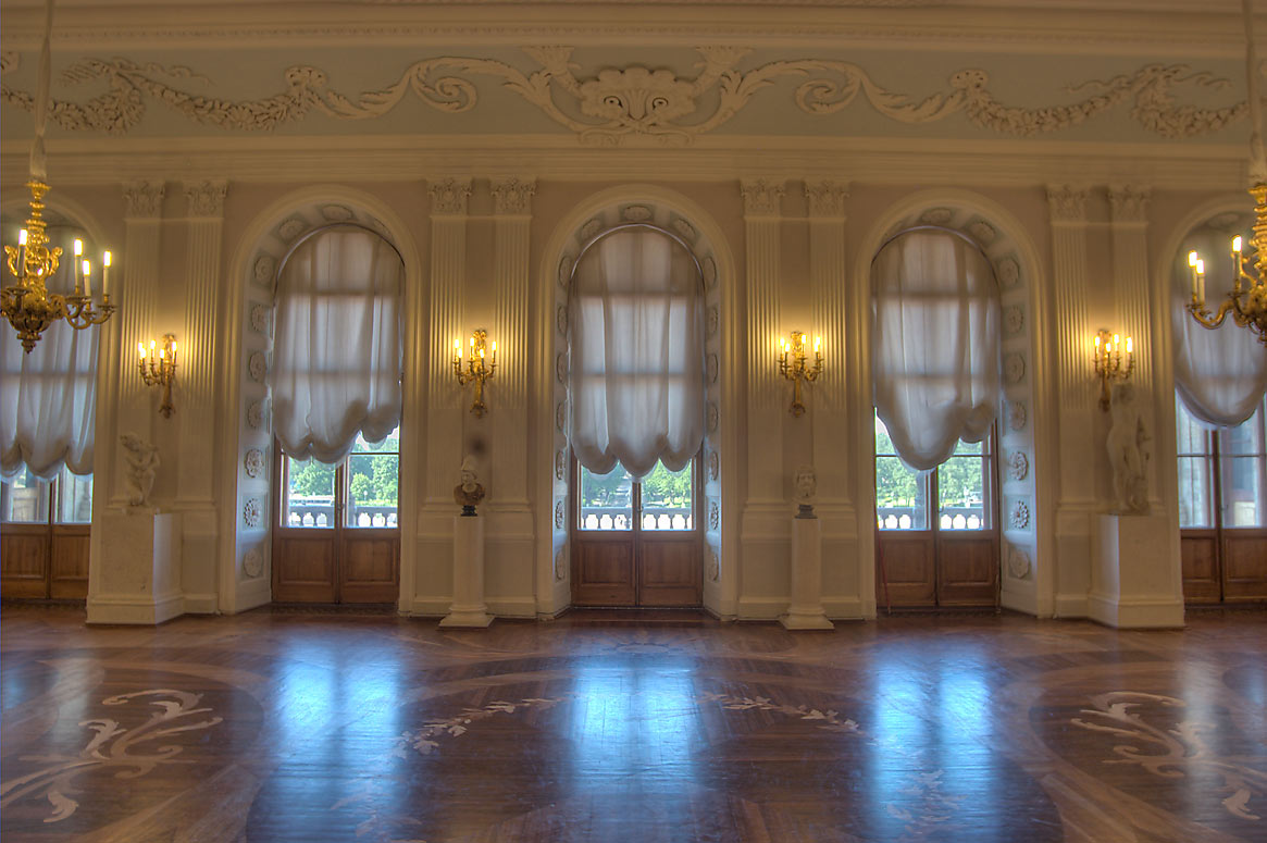 White Hall of Gatchina Palace. Gatchina, a suburb of St.Petersburg, Russia