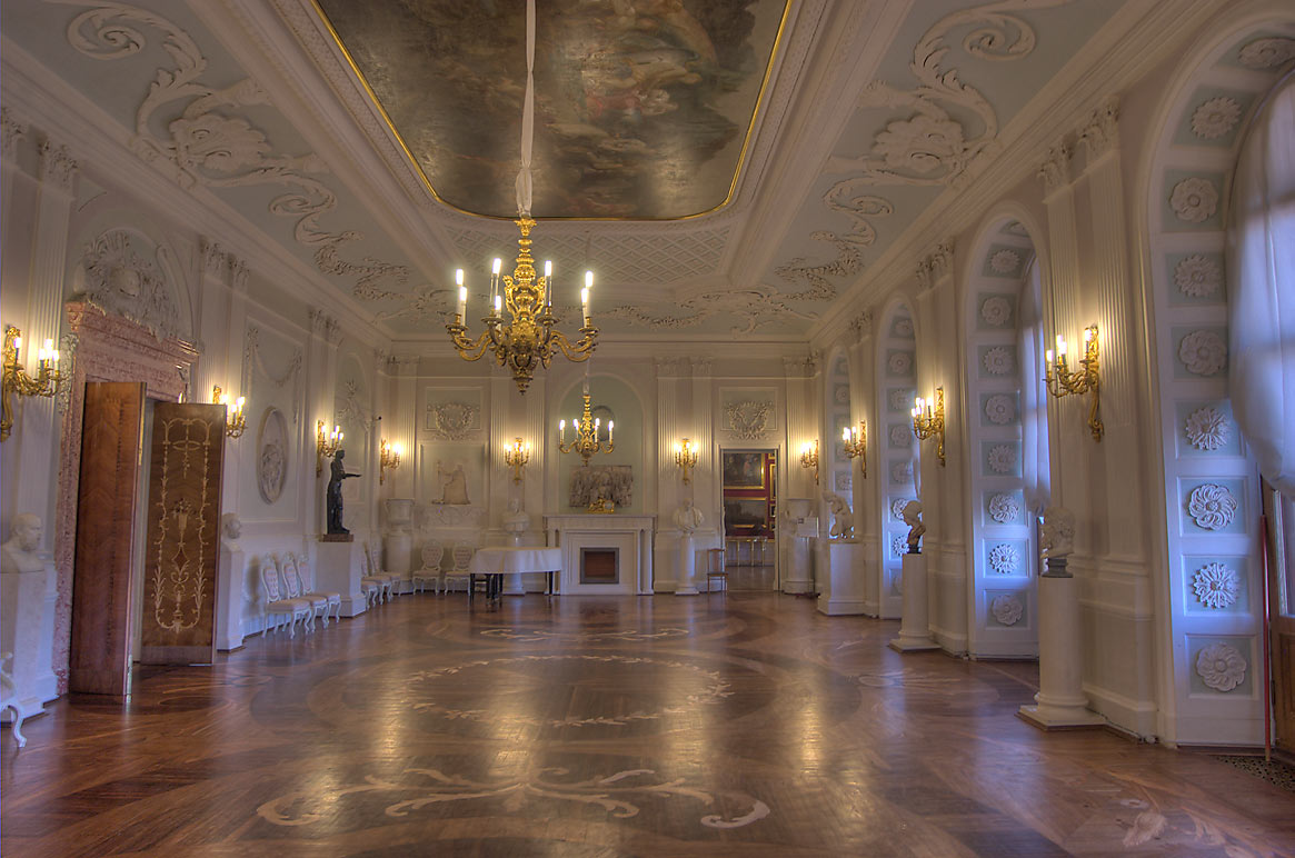 White Hall of Gatchina Palace, side view. Gatchina, a suburb of St.Petersburg, Russia