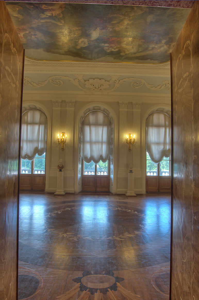 Entrance of White Hall in Gatchina Palace. Gatchina, a suburb of St.Petersburg, Russia
