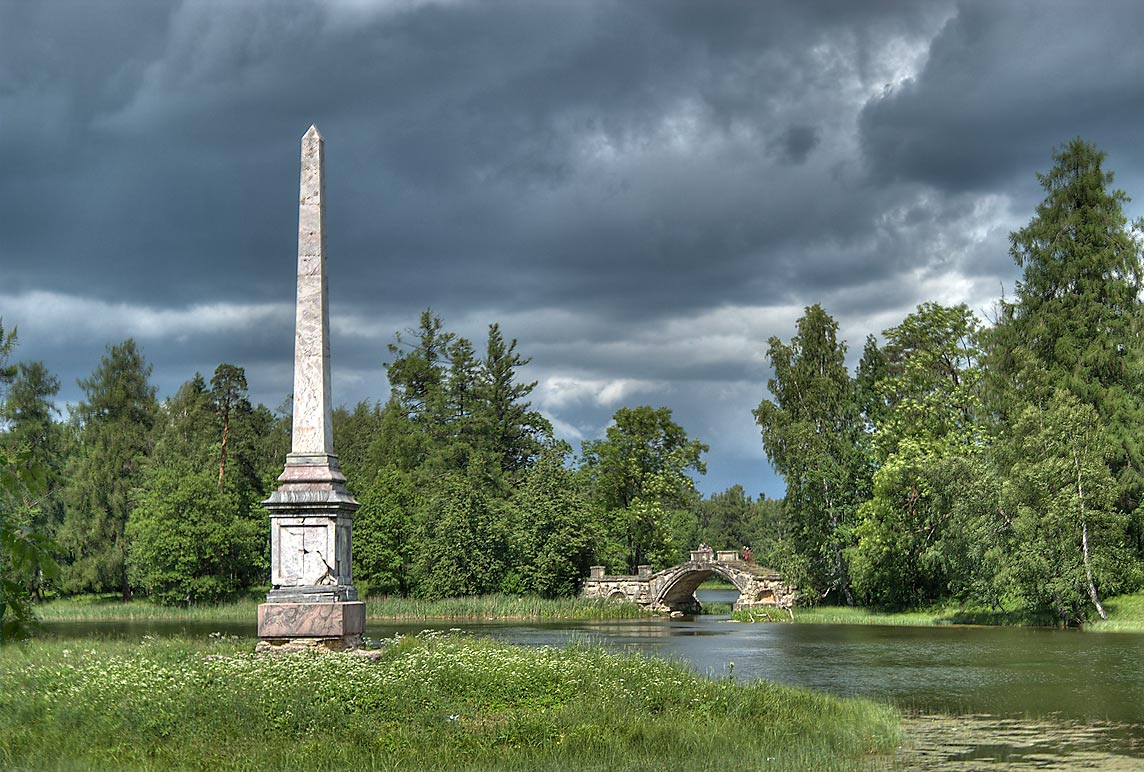 Eagle Pillar (Kolonna Orla) in Gatchina Park. Gatchina, a suburb of St.Petersburg, Russia