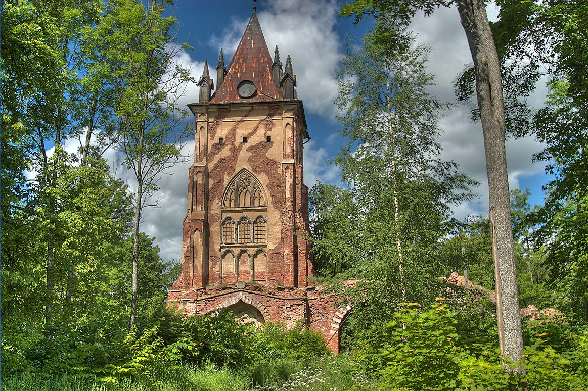 Chapel Tower in Alexander Park of Pushkin (former...a suburb of St.Petersburg, Russia