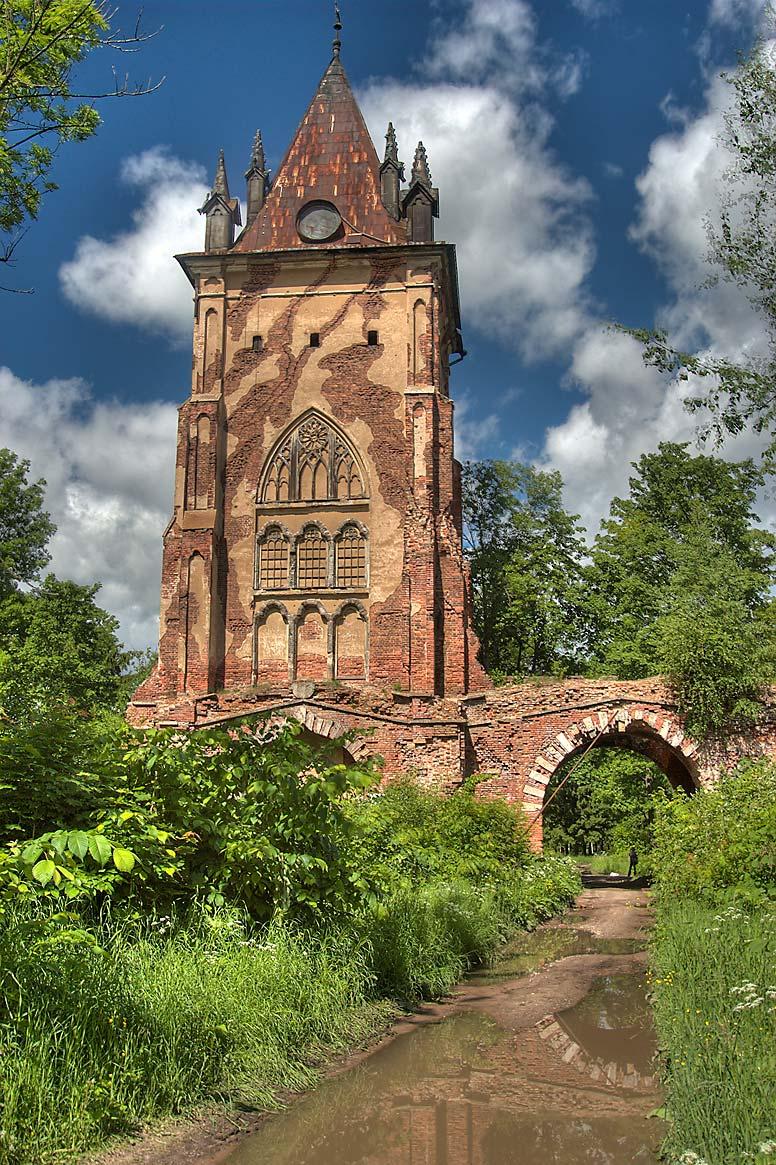 Chapel tower in alexander park of pushkin former tsarskoe selo a