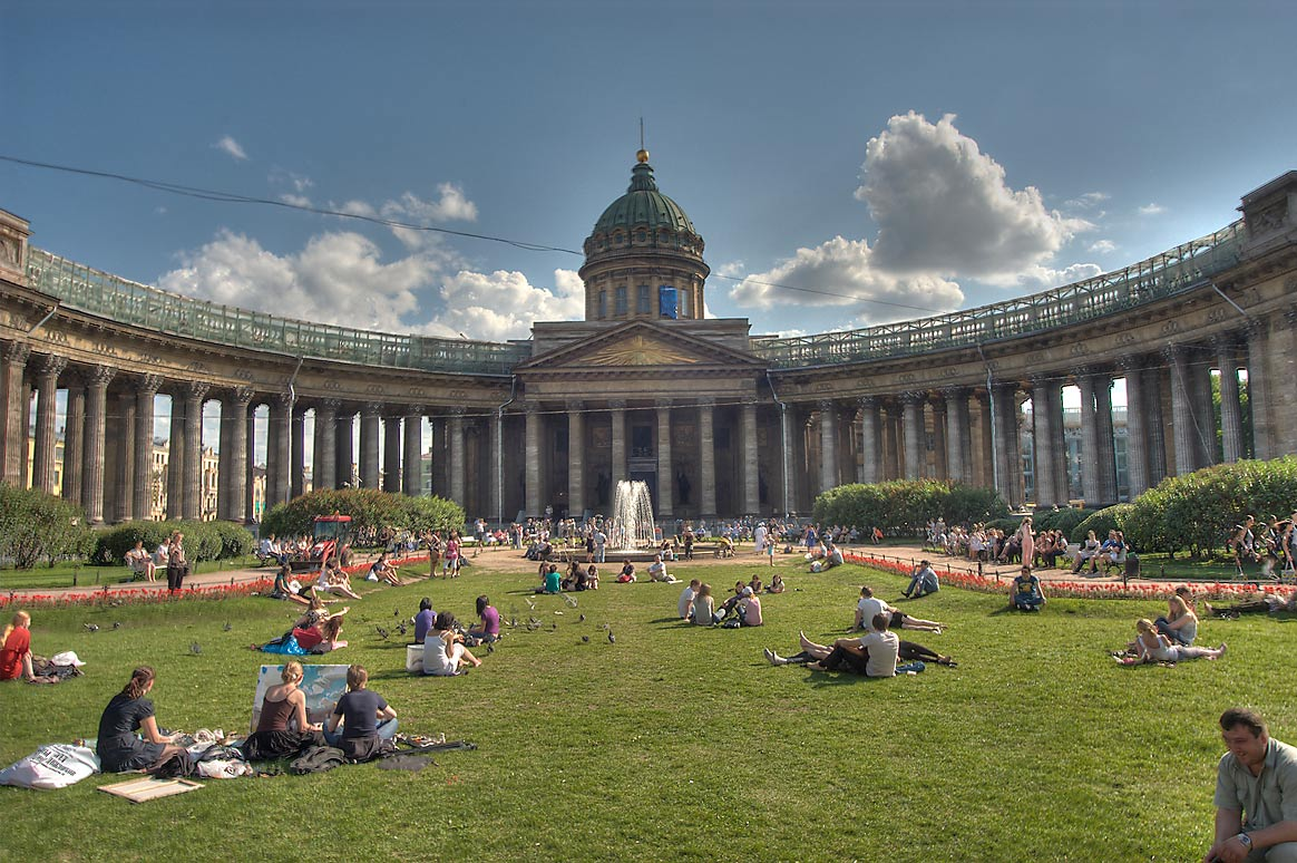 Lawn in front of Kazansky Cathedral, view from Nevsky Prospect. St.Petersburg, Russia