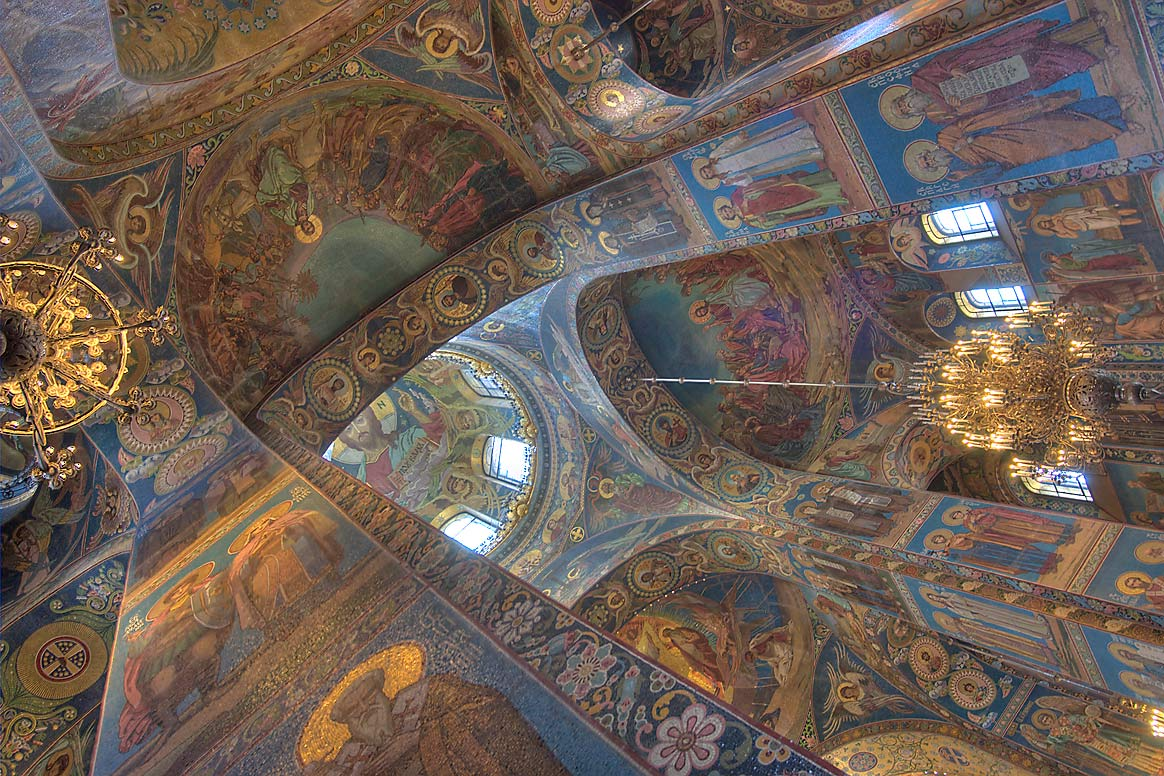 Interior of Church of Savior on Blood. St.Petersburg, Russia