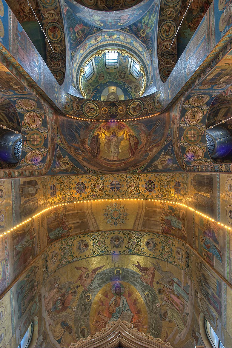 Interior decorations of Church of Savior on Blood. St.Petersburg, Russia