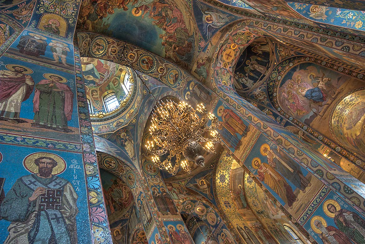 Mosaic paintings on walls of Church of Savior on Blood. St.Petersburg, Russia