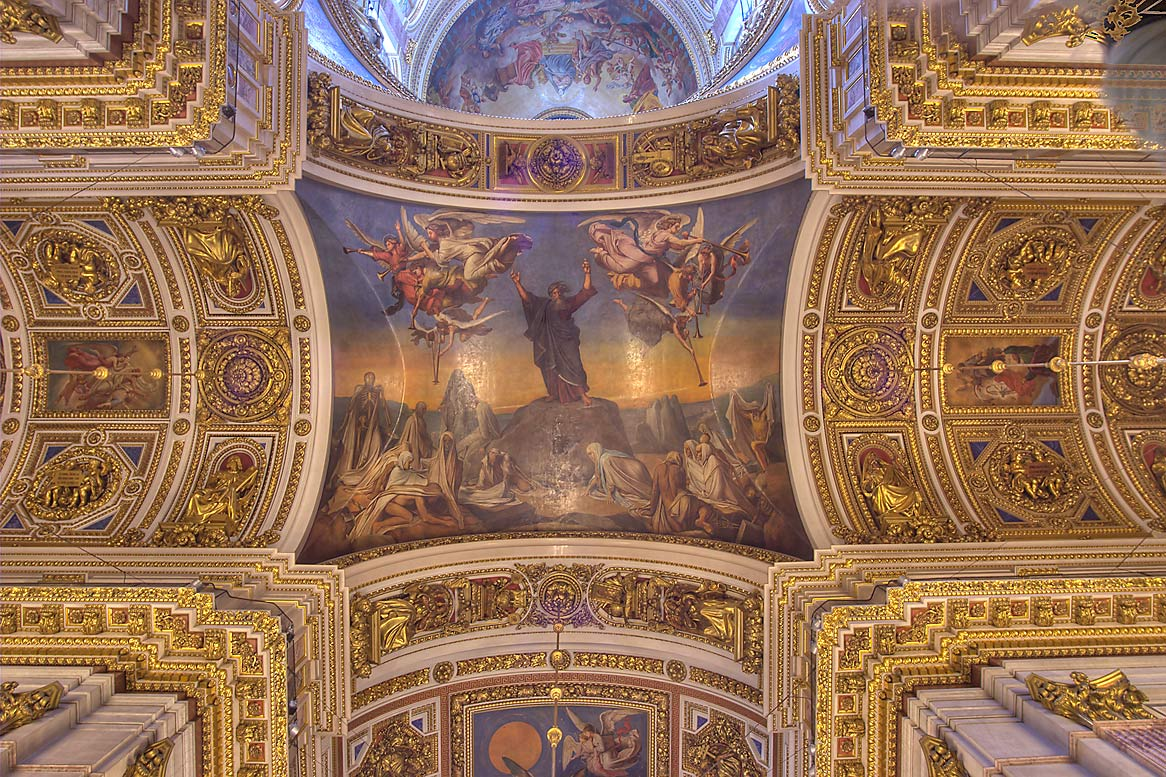 Painted plafond of St.Isaac Cathedral. St.Petersburg, Russia