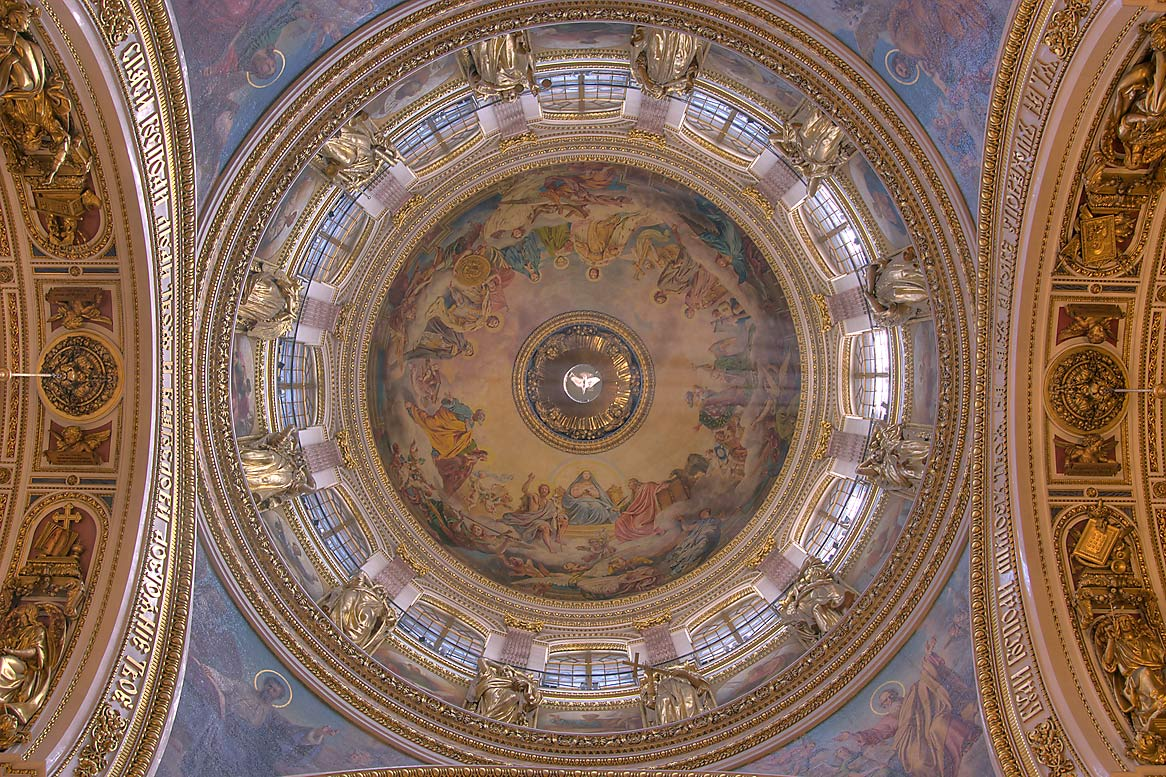 Dome interior of St.Isaac Cathedral. St.Petersburg, Russia