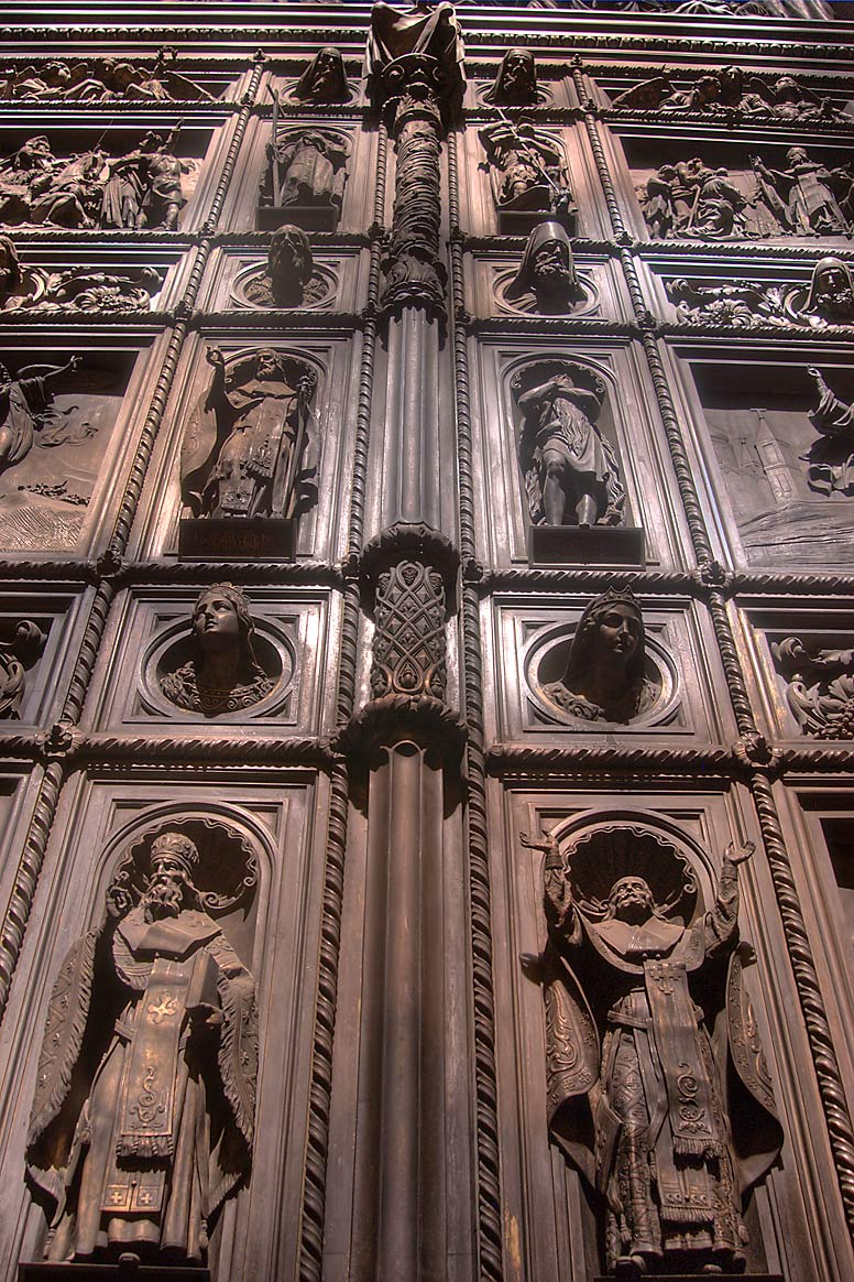 Massive carved doors of St.Isaac Cathedral. St.Petersburg, Russia