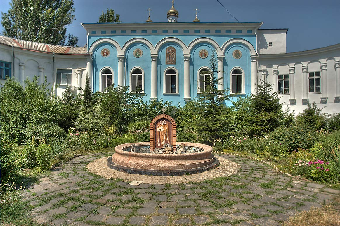 Courtyard of Archangel Michael Monastery for women. Odessa, Ukraine