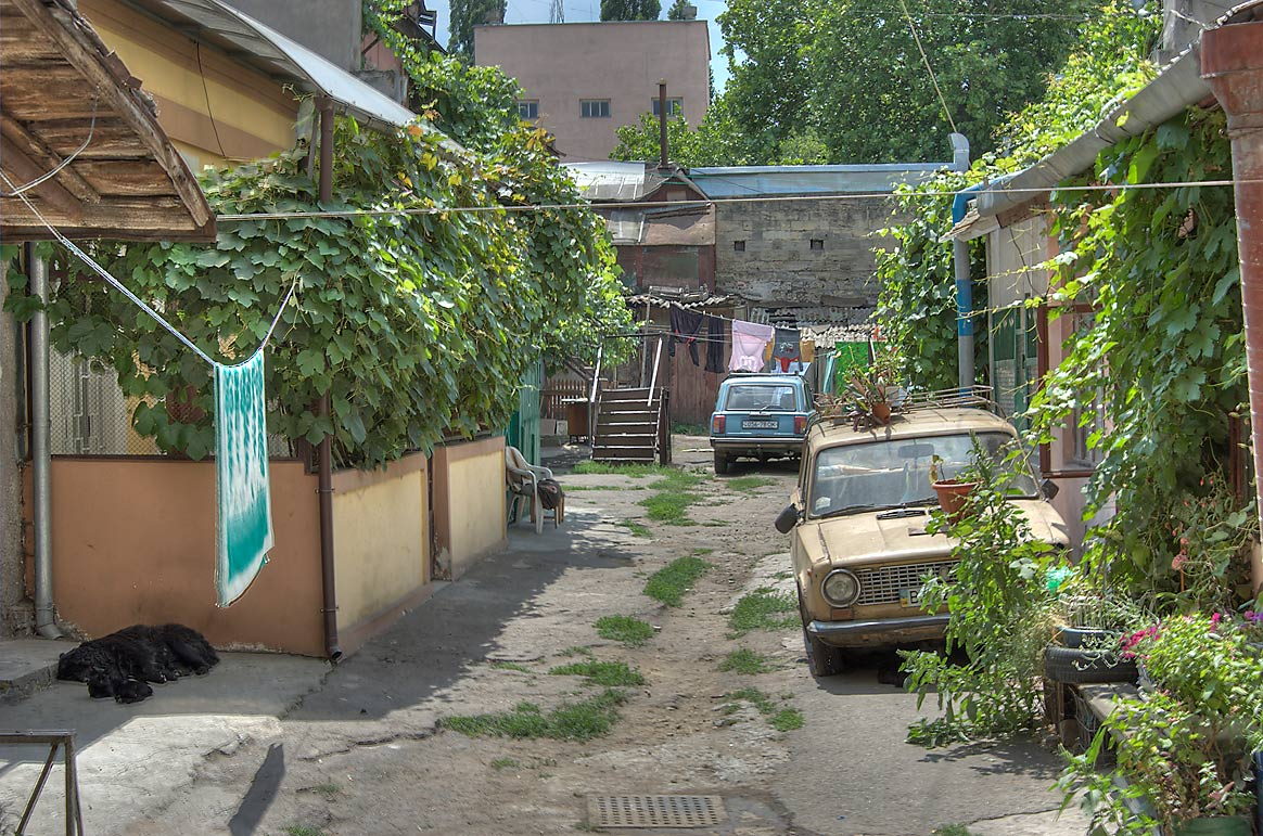 Courtyard with a sleeping black dog and old cars...neighborhood. Odessa, Ukraine
