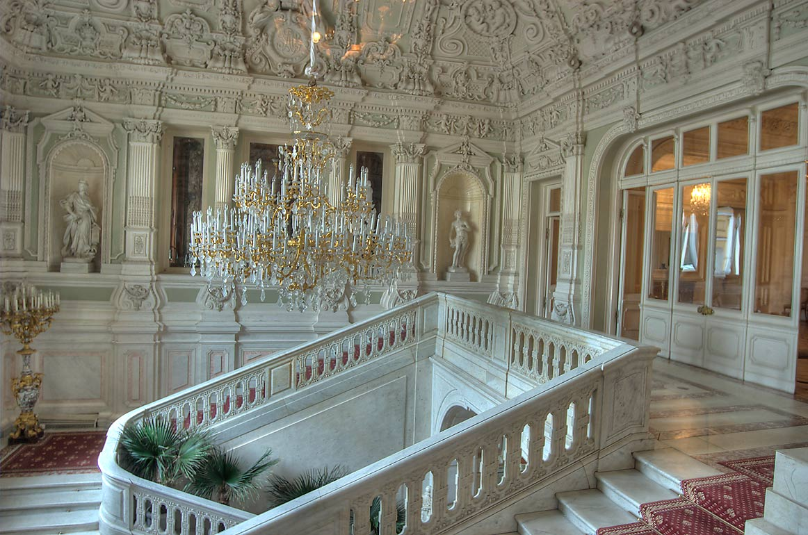 Grand Staircase (upper landing) of Yusupov Palace. St.Petersburg, Russia