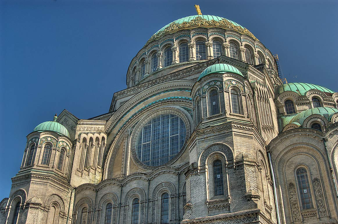 Naval Cathedral of St.Nicholas, view from south. Kronstadt (part of St.Petersburg), Russia