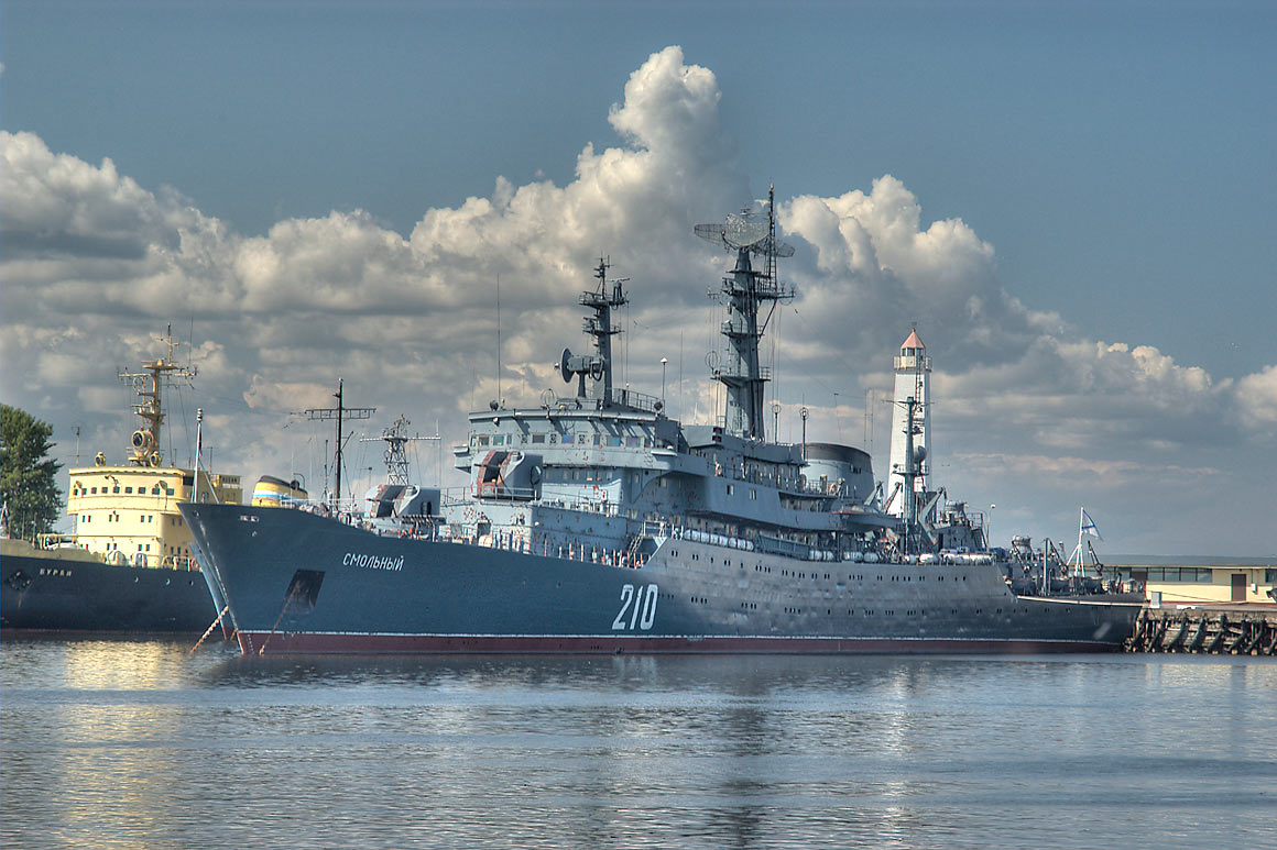Military ships in Petrovskaya Harbor. Kronstadt (part of St.Petersburg), Russia