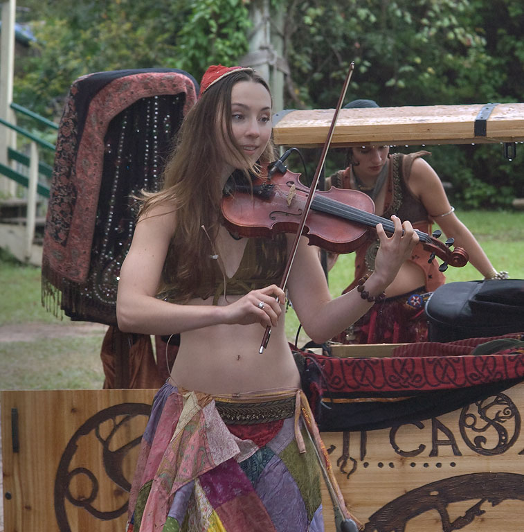 Jenny O'Conner from E Muzeki band playing on a...Festival. Plantersville, Texas
