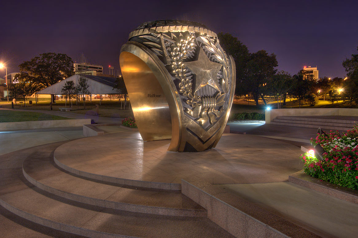 Aggie ring sculpture behind Clayton Williams...M University. College Station, Texas