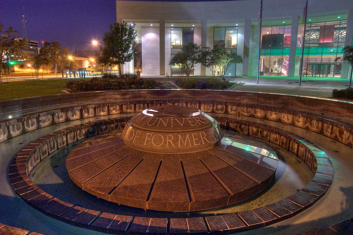 Marble fountain in front of Clayton Williams...M University. College Station, Texas