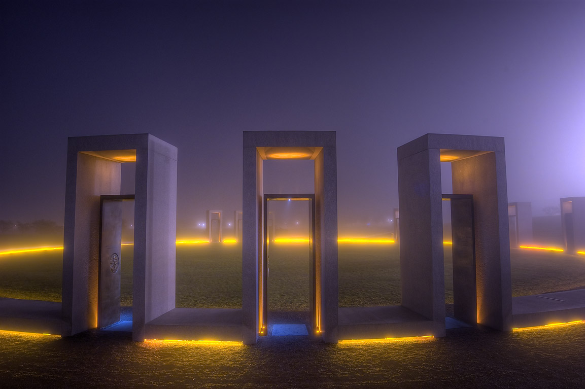 Portals of bonfire memorial in fog on campus of...M University. College Station, Texas