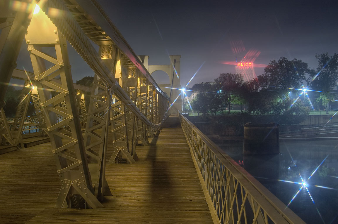 West sidewalk of Waco Suspension Bridge. Waco, Texas