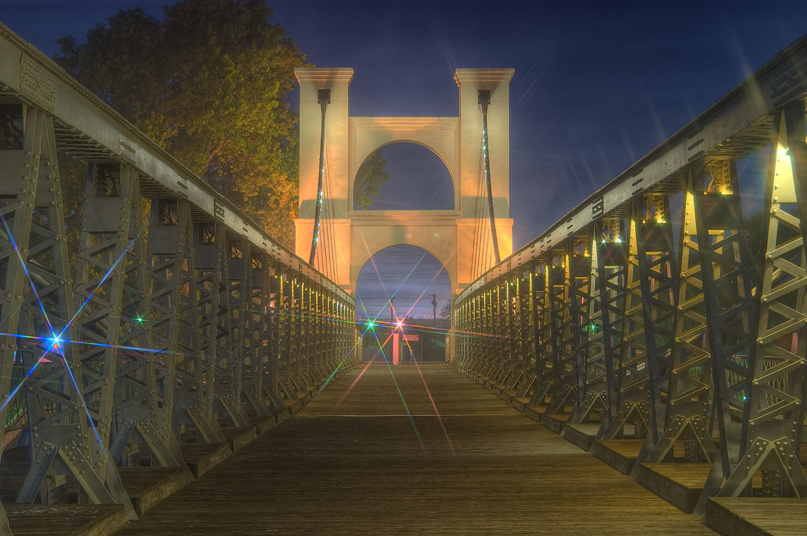 Waco Suspension Bridge before sunrise. Waco, Texas