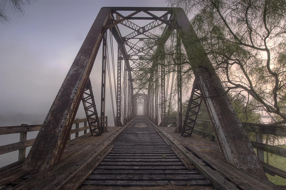 Railroad bridge from south side of Brazos River. Waco, Texas