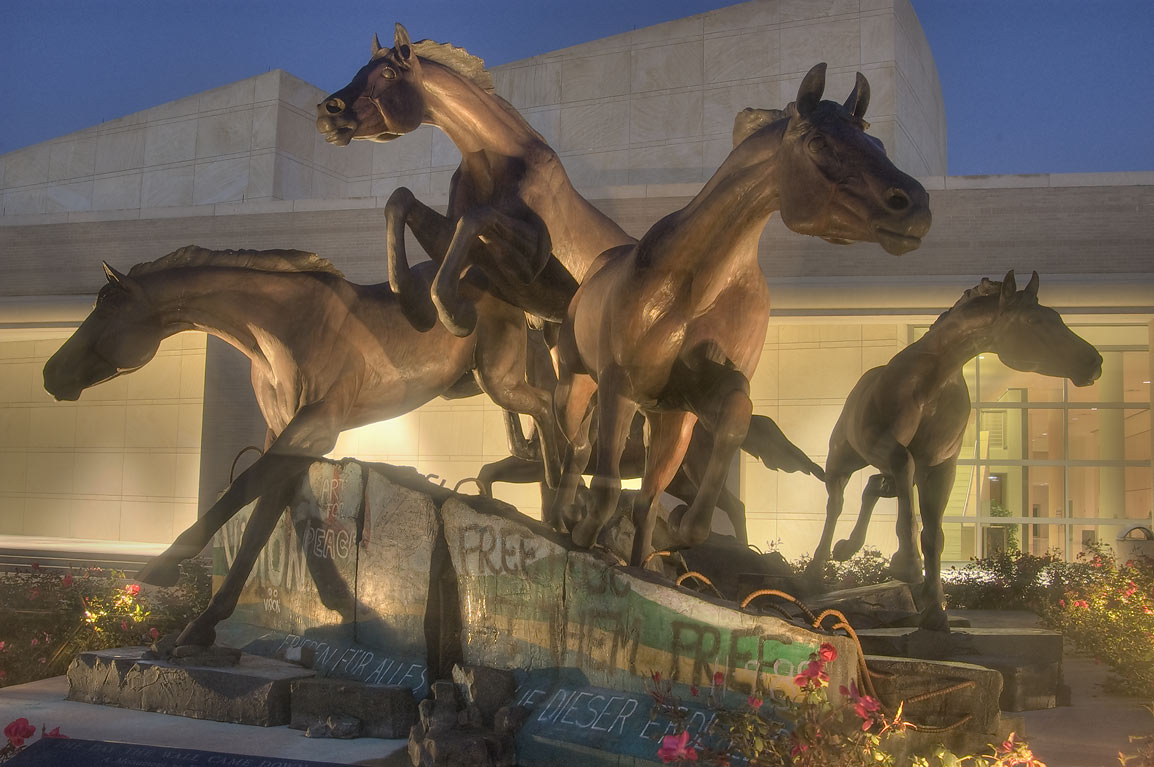 "Five-horse statue ""The Day the Wall Came Down...M University. College Station, Texas"