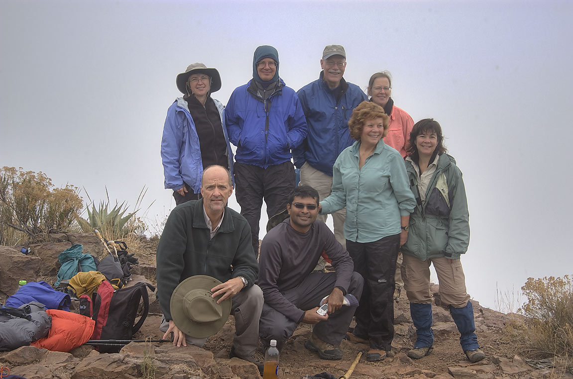 Group of people with Dallas Sierra Club on Southeast Rim. Big Bend National Park
