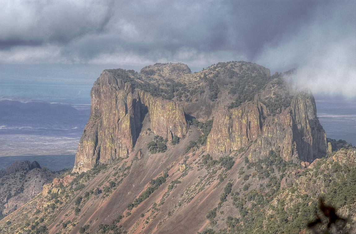 Casa Grande Peak of Chisos Mountains from Emory Peak Trail. Big Bend National Park