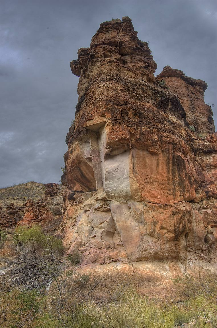 One of eroded pinnacles of pink volcanic tuff on Blue Creek Trail. Big Bend National Park