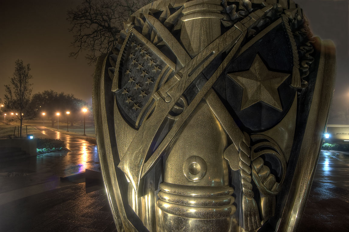 Details of big Aggie ring replica on campus of...M University. College Station, Texas