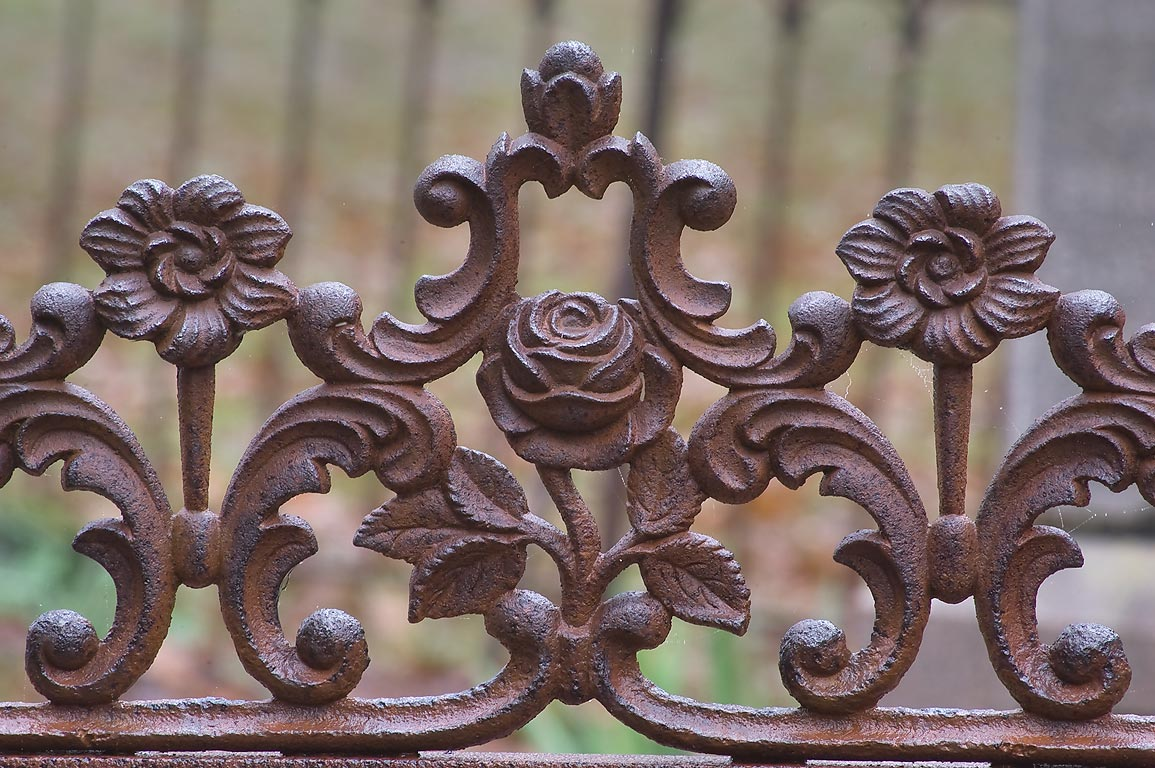 Details of an iron fence of a tomb in Boonville Cemetery. Bryan, Texas