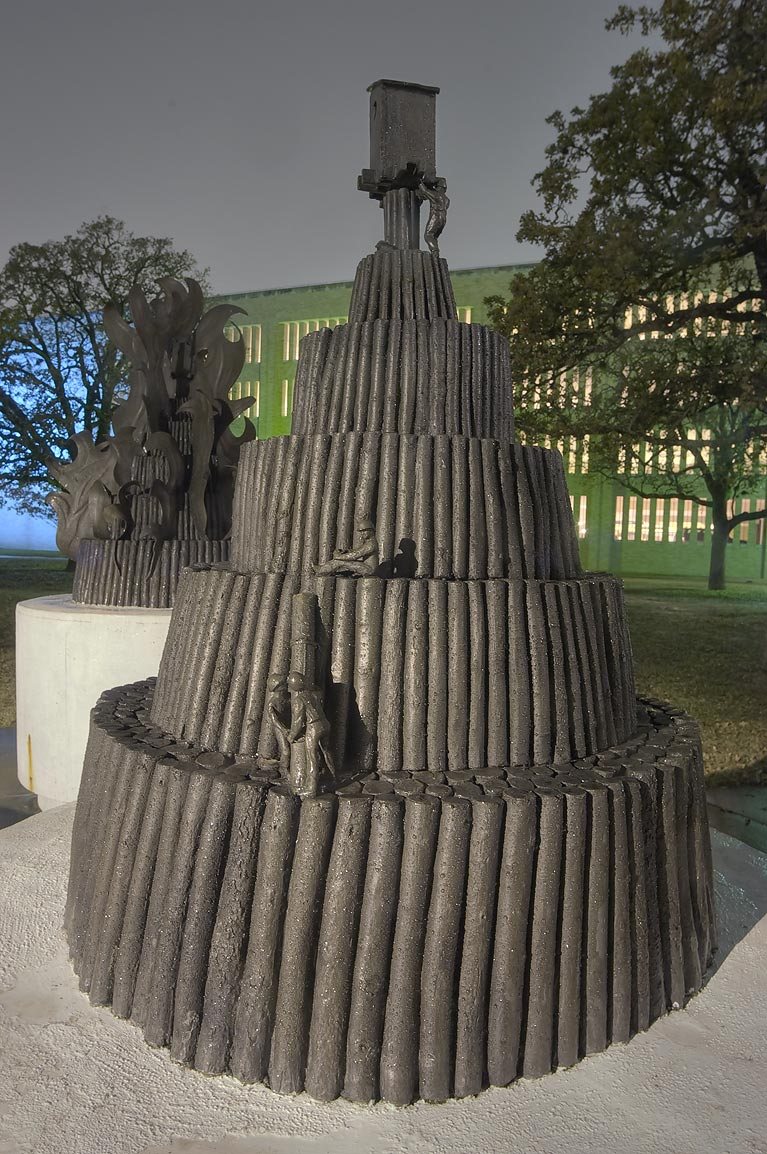 Bronze sculpture of student's bonfire shaped as...M University. College Station, Texas