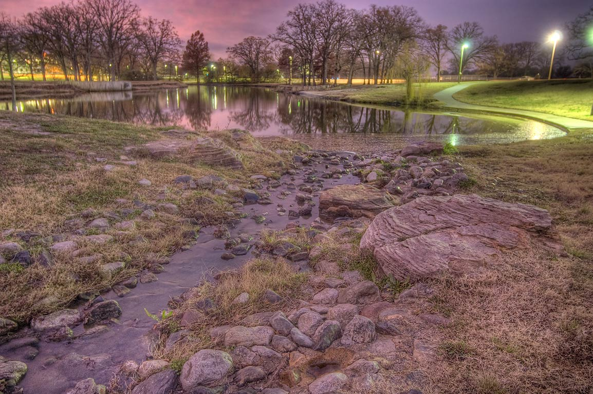 Ponds of Research Park at morning on campus of...M University. College Station, Texas