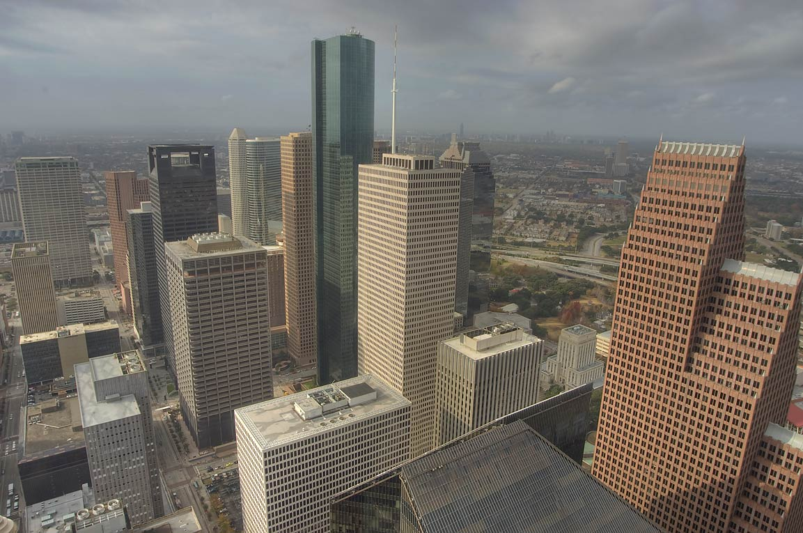 View of downtown south-west from Chase Tower. Houston, Texas