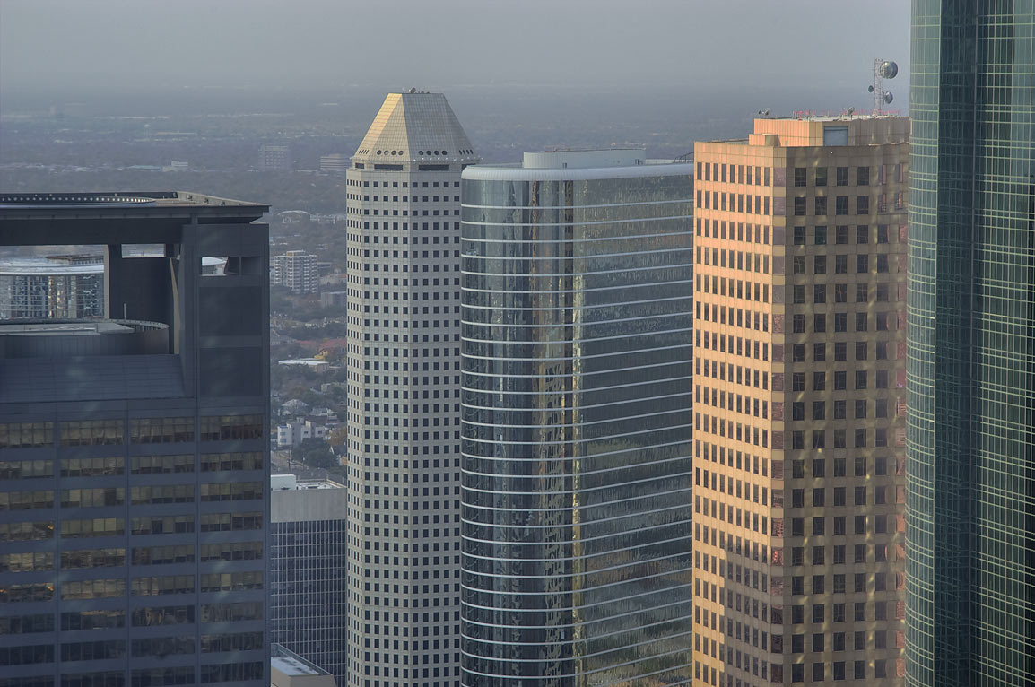 Downtown towers, view from Chase Tower. Houston, Texas