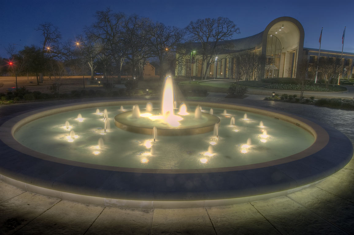 Gruy Fountain near Hagler Center (headquarters of...M University. College Station, Texas