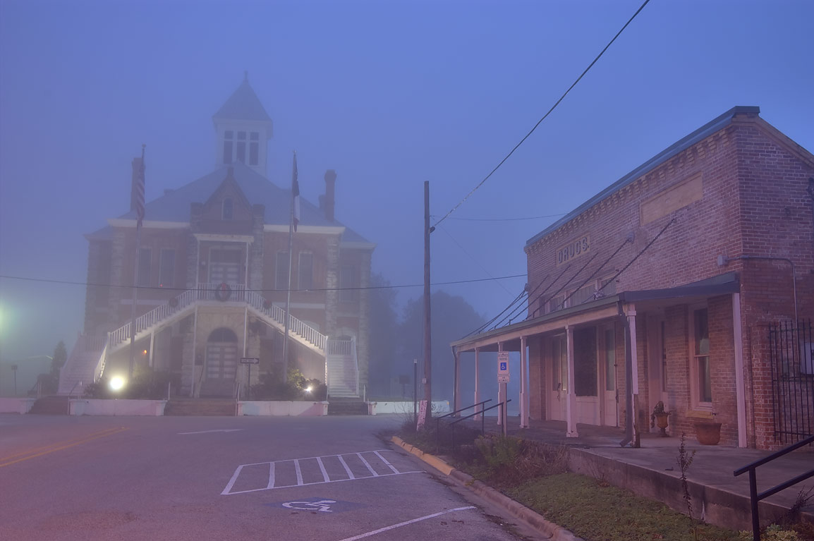 Main St. and Grimes County Courthouse at morning. Anderson, Texas