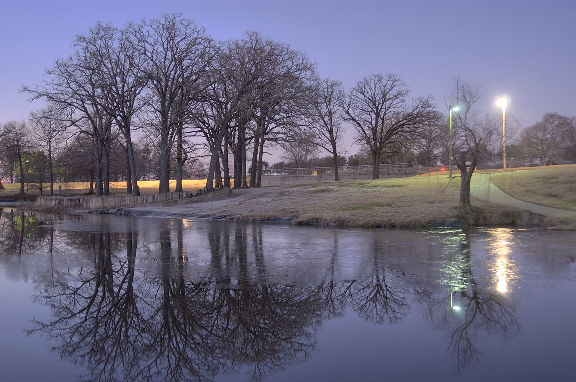Half frozen ponds of Research Park on campus of...M University. College Station, Texas