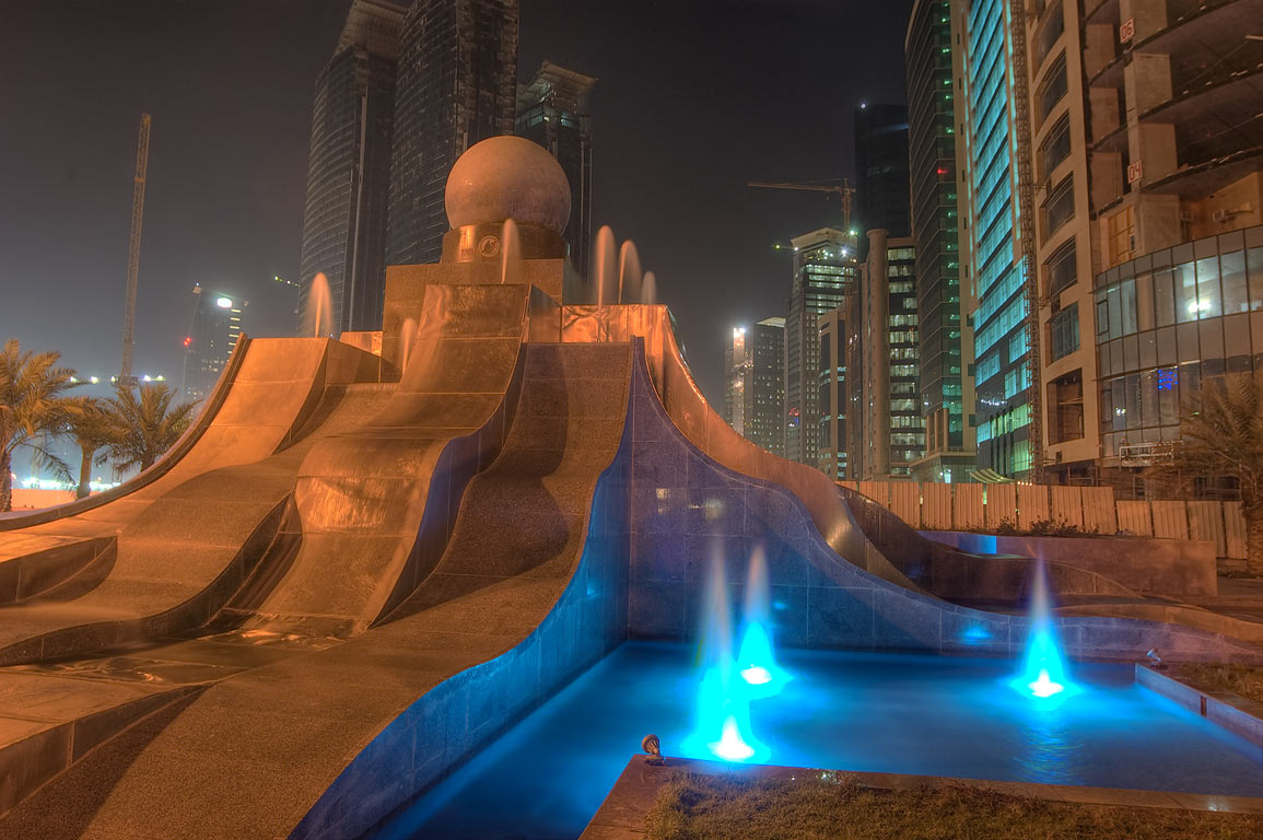 Fountain of Exhibition Roundabout in West Bay at morning. Doha, Qatar