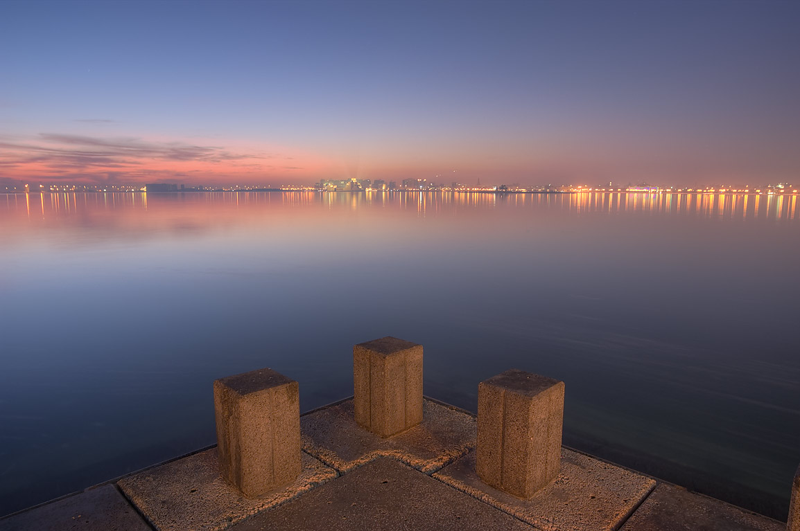 View from Corniche (waterfront promenade) at morning. Doha, Qatar