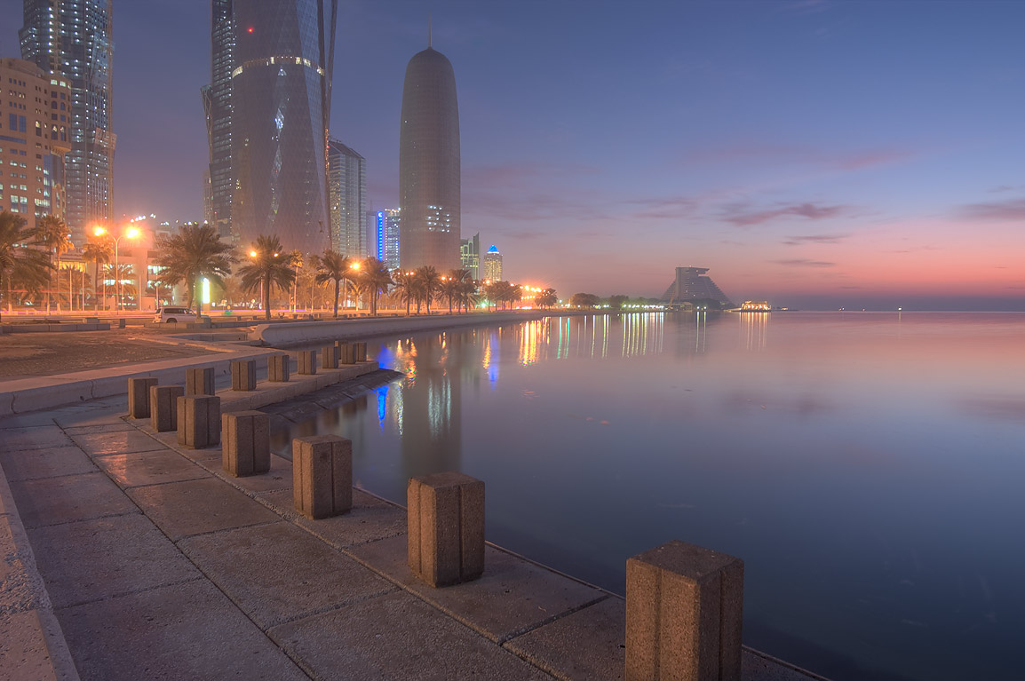 View of West Bay from Corniche (seafront promenade) at morning. Doha, Qatar
