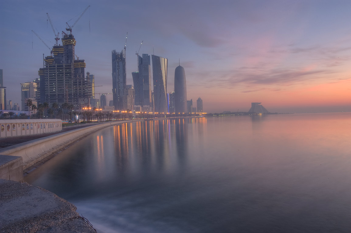View of West Bay from Corniche (seafront promenade) near a sewage outlet. Doha, Qatar