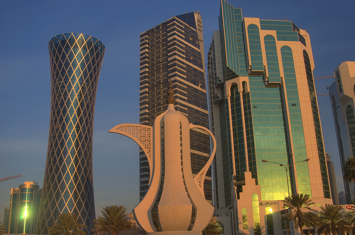 Giant teapot sculpture (dallah, or coffee pot...from Corniche at sunrise. Doha, Qatar