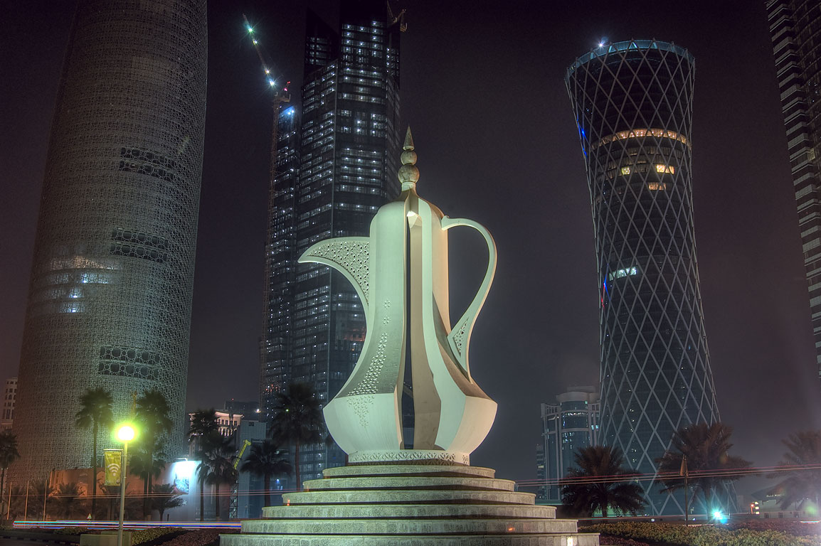 Giant teapot sculpture (dallah, or coffee pot...on Corniche in West Bay. Doha, Qatar