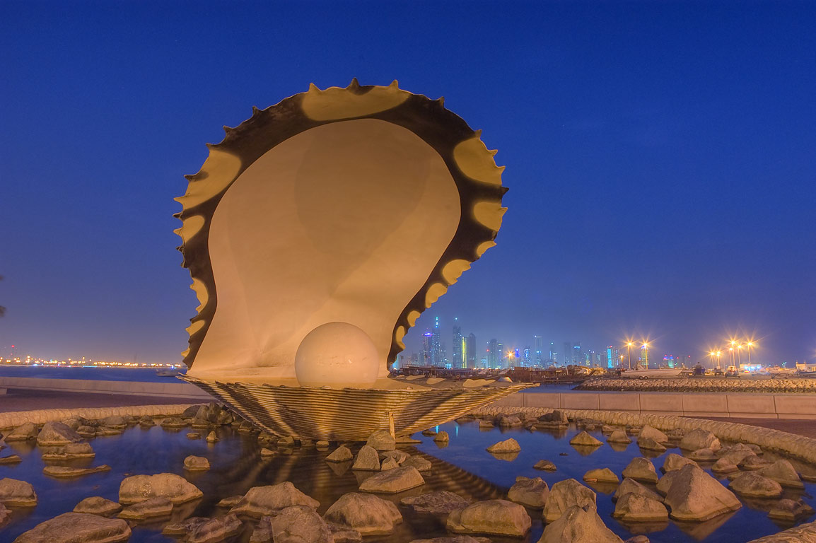 Oyster and Pearl sculpture at morning. Doha, Qatar
