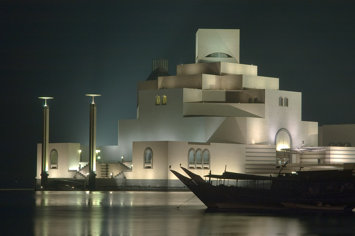 Museum of Islamic Art and dhow boats from Corniche at morning. Doha, Qatar