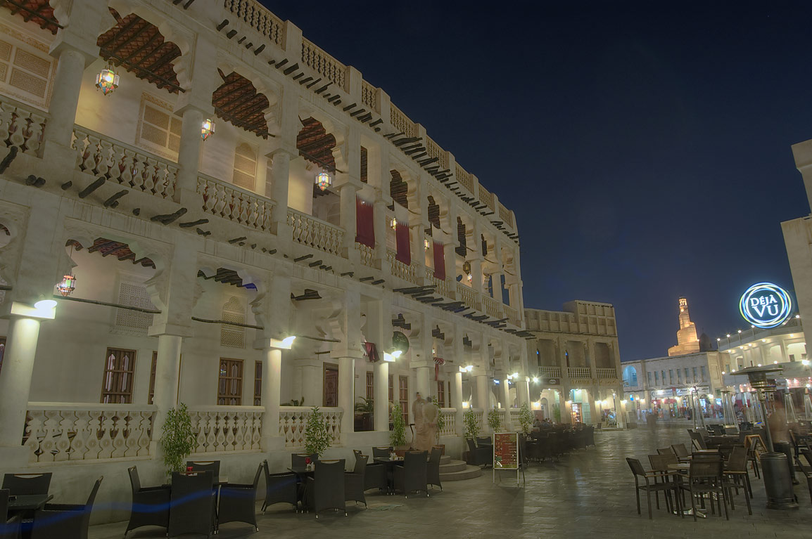 Al Tawash restaurant of Souq Waqif (market) at evening. Doha, Qatar