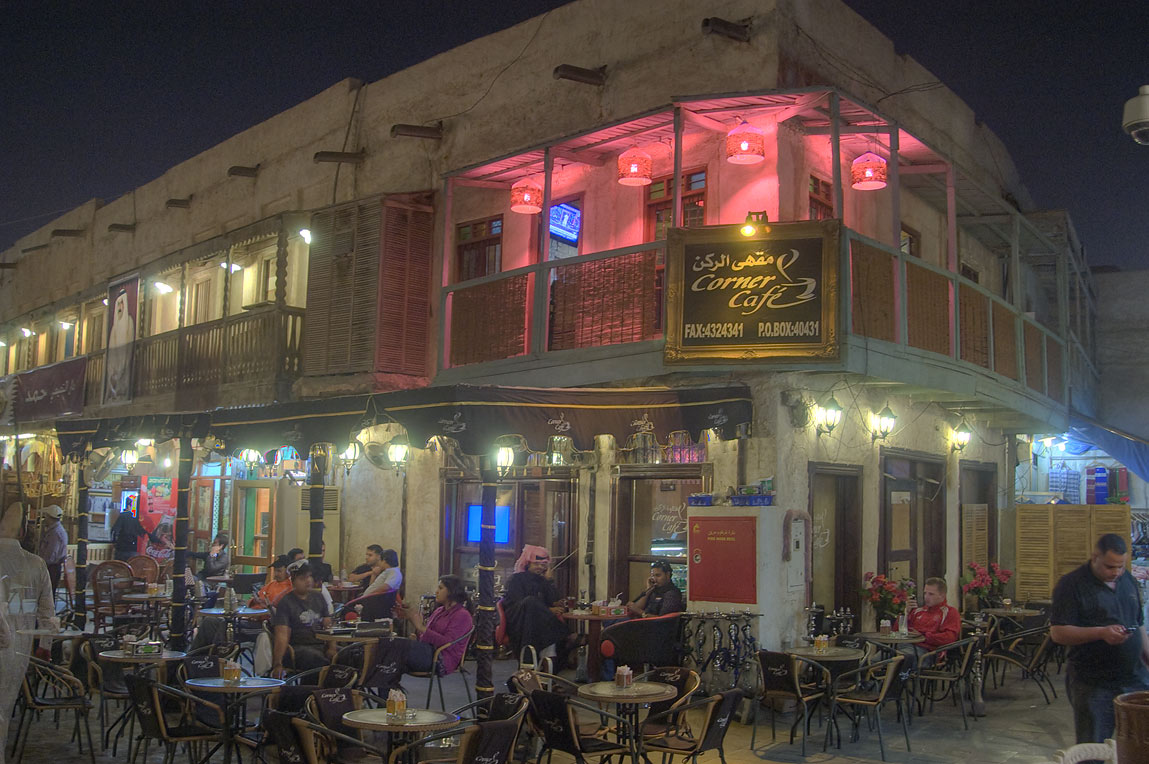Corner Cafe in Souq Waqif (old market). Doha, Qatar